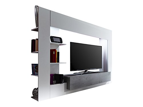 Trendteam hry wohnwand tv m bel mediawand wei grau for Wohnwand betonoptik