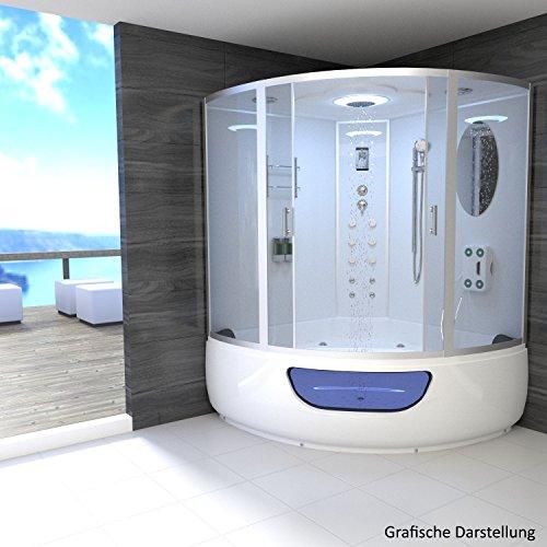 TroniTechnik Dampfdusche Duschtempel Whirlpool Badewanne Komplettdusche Duschkabine Dusche 150x150 weiß