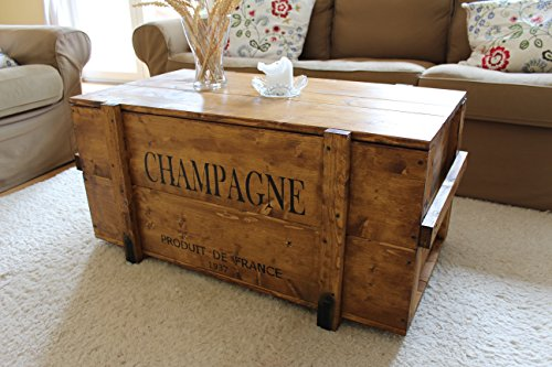 """Uncle Joe's 75759 Truhe Couchtisch Holzkiste """"Champagne"""", vintage, shabby chic Holz 98 x 55 x 46 cm, Hellbraun"""