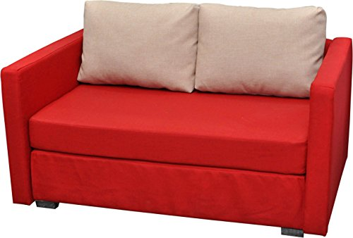 "VCM 900058 2-er Couch ""Engol"" Sofa mit Schlaffunktion, rot"