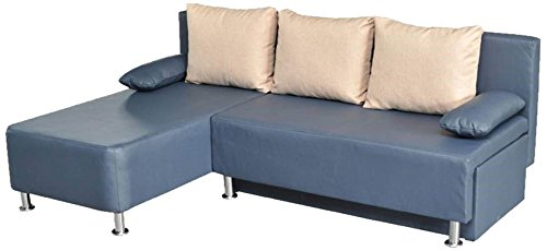 vcm 900068 ecksofa critona couch mit schlaffunktion blau kunstleder m bel24. Black Bedroom Furniture Sets. Home Design Ideas