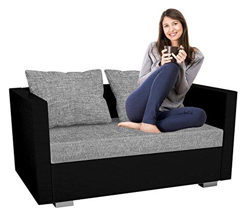 """VCM 911662 2-er Couch """"Sinsa"""" Kunstleder Sofa mit Schlaffunktion, schwarz"""