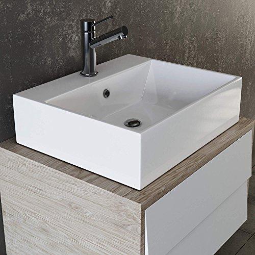 VILSTEIN-Keramik-Waschbecken-Hngewaschbecken-Aufsatzwaschbecken-Waschtisch-rechteckig-eckig-weiss-50-cm-0