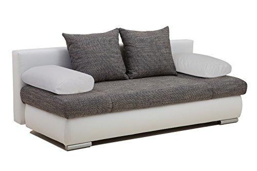 Vicco Schlafsofa Sofa Couch Chicago 200x95 Struktur PU Leder grau weiß Gästebett