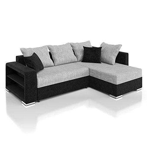 Vicco Sofa Couch Ecksofa Houston Schlaffunktion Schlafsofa schwarz/grau Eckcouch