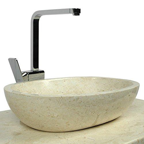 WOHNFREUDEN-Marmor-Waschbecken-MARA-45-cm-creme--Naturstein-Waschschale-Handwaschbecken-rund-poliert-fr-Bad-Gste-WC--inkl-techn-Zeichnung--schnell-versandkostenfrei--0