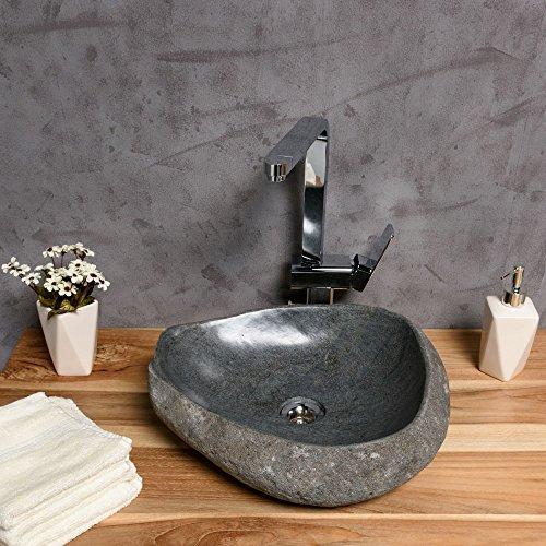WOHNFREUDEN-Naturstein-Waschbecken-40-50-cm--Aufsatz-Waschbecken-aus-Flussstein-einzeln-fotografiert--Auswahl-von-Steinwaschbecken-aus-Galerie--Versandkostenfrei--Gste-WC-Bad-0