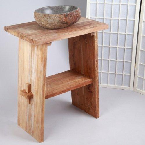 WOHNFREUDEN Waschtisch aus Teak-Holz ♥ 74 cm hoch - 60 cm lang ✓ geschliffene Oberfläche ✓ ideal für Naturstein Aufsatzbecken ✓ Waschbecken Unterschrank für Gäste WC Bad ✓versandkostenfrei ✓