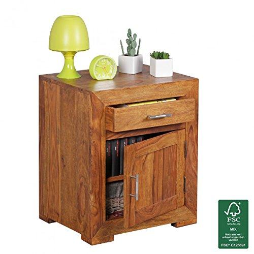 WOHNLING-Nachttisch-Massivholz-Sheesham-Design-Nachtkommode-60cm-Hoch-50cm-Breit-Schublade-Tr-Nachtschrank-Natur-Holz-Massiv-dunkel-braun-Nachtkonsole-Landhaus-Stil-Nachtkstchen-fr-Boxspring-Bett-0