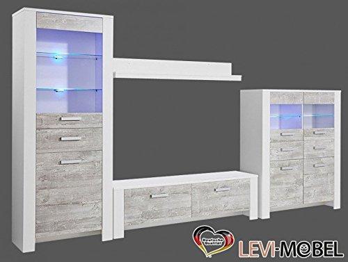 wohnwand 4 tlg wohnzimmer anbauwand lowboard vitrine wei. Black Bedroom Furniture Sets. Home Design Ideas