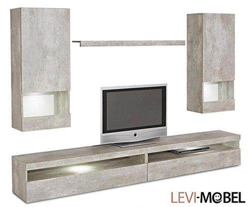 wohnwand 5 tlg anbauwand wohnzimmer schrank beton optik matt neu 598393 m bel24. Black Bedroom Furniture Sets. Home Design Ideas