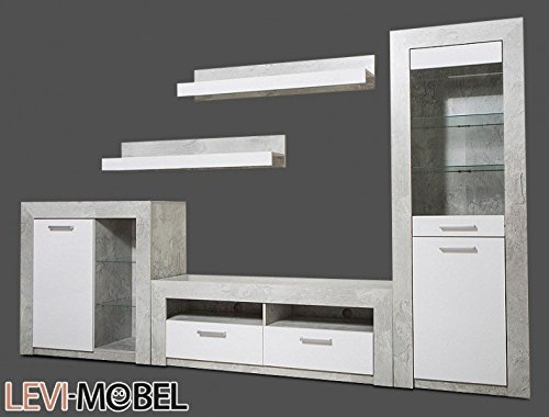 wohnwand 5 tlg wohnzimmer beton optik grau wei hochglanz neu 521253 0 m bel24. Black Bedroom Furniture Sets. Home Design Ideas