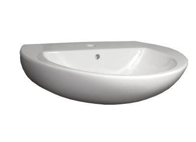 Waschtisch/Waschbecken 60 cm, mit Hahnloch, mit Überlauf, weiß