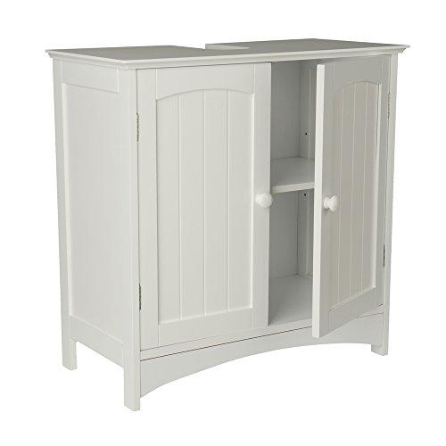 Waschtischunterschrank Holz MDF weiß 30 x 60 x 30 cm | Aussparung für Siphon | verstellbarer Einlegeboden |