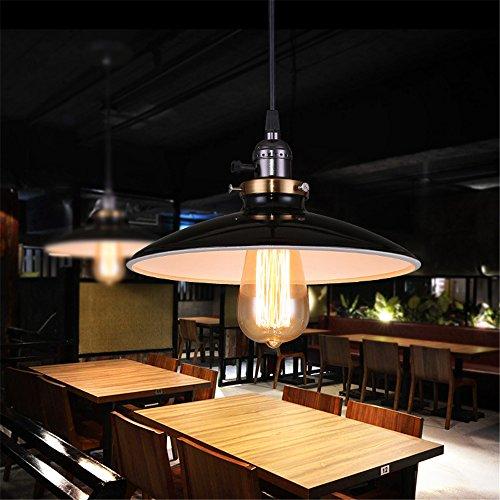 Weare-Home-Retro-Glnzend-Innen-Wei-Teller-Form-Metall-Lampenschirm-Pendelleuchte-Haltbar-Eisenhaltig-Industrieller-Stil-mit-Schwarzer-Beschichtung-0