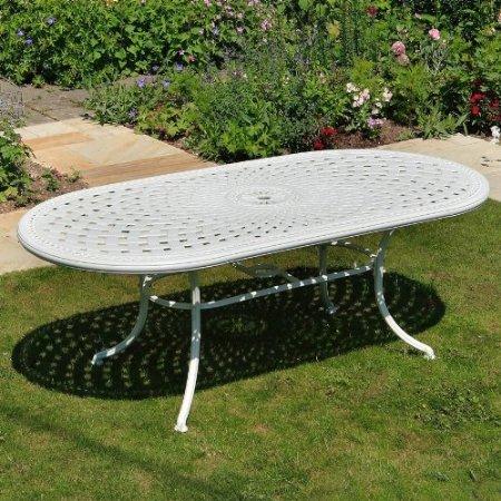 Weies-Catherine-210-x-105cm-Ovales-Gartenmbelset-Alu-1-Weier-CATHERINE-Tisch-6-Weie-Mary-Sthle-0