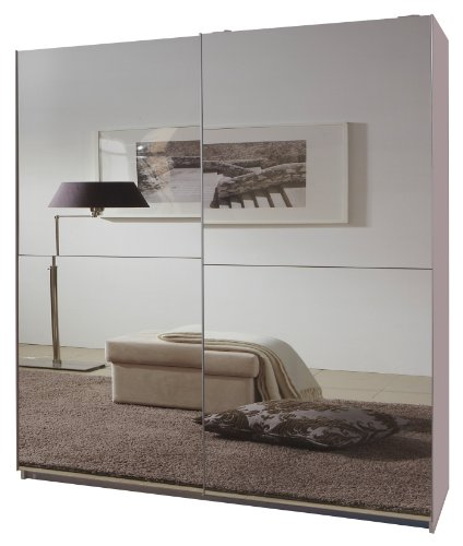 Wimex 034773 Schwebetürenschrank 198 x 135 x 64 cm,, Front vollverspiegelt, alpinweiß