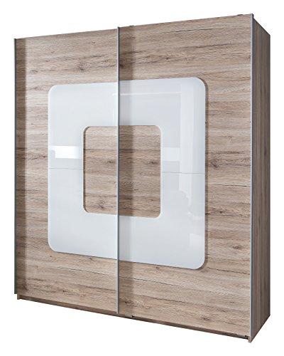 Wimex-106771-Schwebetrenschrank-San-Remo-Eiche-Nachbildung-180-x-198-x-64-cm-Absetzung-Glas-wei-0