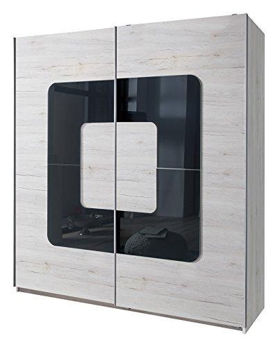 Wimex 132771 Schwebetürenschrank, Weißeiche Nachbildung, 180 x 198 x 64 cm, Absetzung Glas, grau