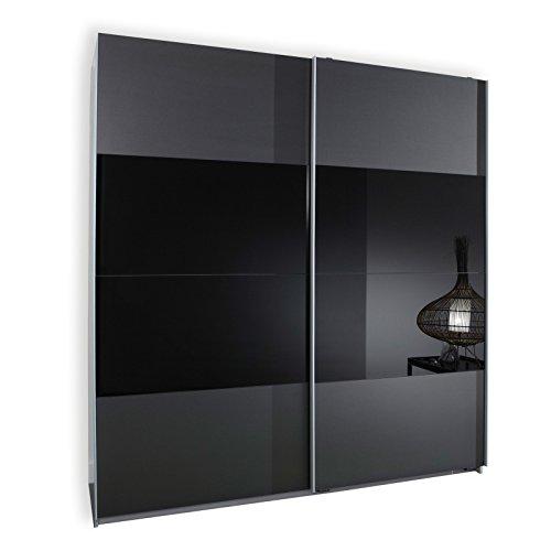 Wimex-163771-Schwebetrenschrank-198-x-180-x-64-cm-Front-anthrazit-und-Glas-schwarz-Korpus-Alu-Nachbildung-0