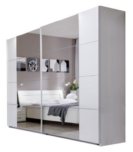 Wimex 734795 Schwebetürenschrank 270 x 210 x 59 cm mit 8 Spiegelfeldern, Front und Korpus alpinweiß / Aufleistungen chrom glänzend