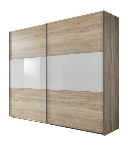 Wimex 960810 Schwebetürenschrank 225 x 236 x 65cm, Front und Korpus Eiche Sägerau Nachbildung / Absetzungen Glas Weiß
