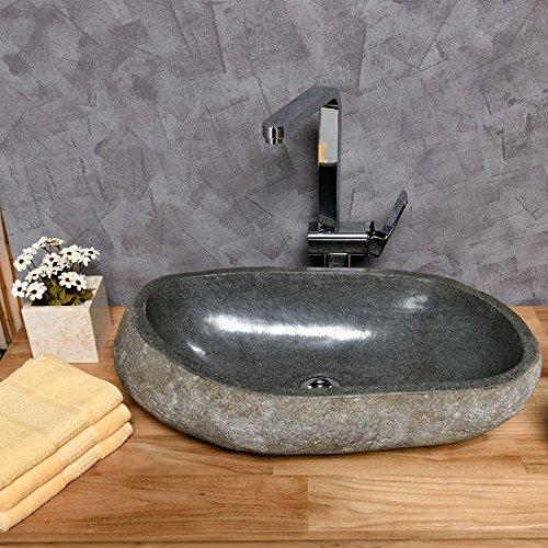 Wohnfreuden Naturstein Waschbecken Waschtisch ca. 50x35x15 cm Waschschale Findling OVAL