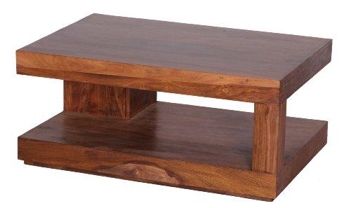 Wohnling WL1.219 Sheesham Couchtisch Massiv 90 x 60 cm mit Ablage Massivholz