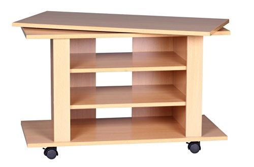 Wohnling WL1.340 TV HiFi Bank Buche Fernsehtisch drehbar und rollbar 75 x 38 x 51 cm