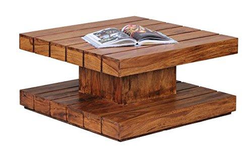 Wohnling WL1.377 Design Sheesham Massivholz Couchtisch 80 x 80 x 40 cm, natur