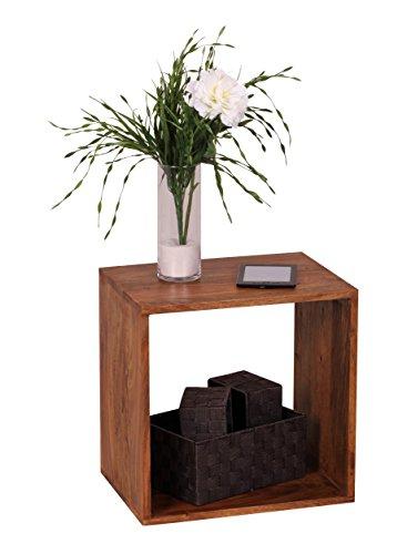 Wohnling WL1.558 Massivholz Sheesham Cube Regal 43,5 x 43,5 x 33 cm