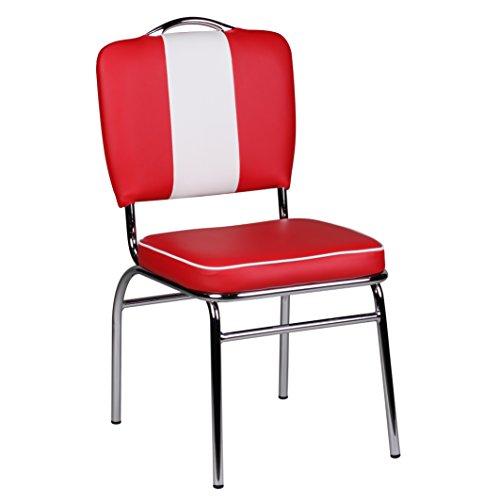 Wohnling WL1.715 Esszimmerstuhl American Diner 50-er Jahre Retro, rot / weiß