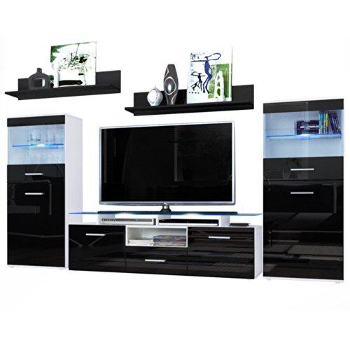 wohnwand almada in wei schwarz hochglanz m bel24. Black Bedroom Furniture Sets. Home Design Ideas