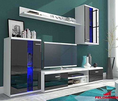 Wohnwand-Anbauwand-4-teilig-6406-wei-schwarz-Hochglanz-inkl-LED-Beleuchtung-0