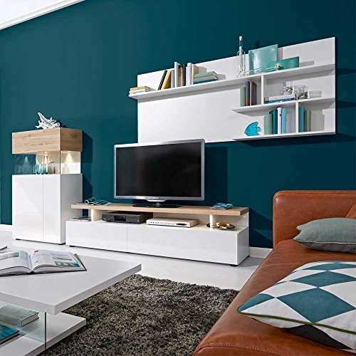 wohnwand coplin in wei hochglanz 300 cm 3 teilig ohne beleuchtung pharao24 m bel24. Black Bedroom Furniture Sets. Home Design Ideas