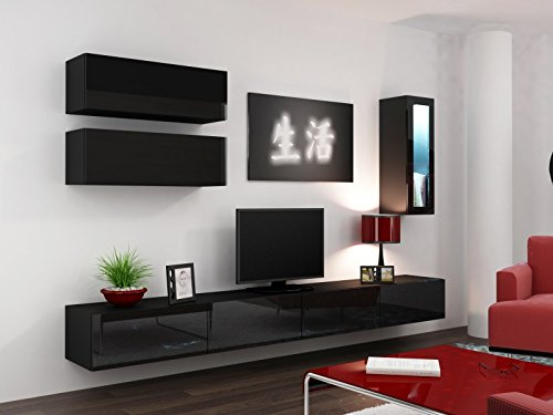 wohnwand vigo full iv hochglanz h ngeschrank lowboard glasvitrine farbe schwarz matt. Black Bedroom Furniture Sets. Home Design Ideas