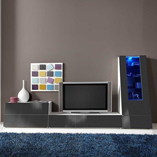 wohnwand in anthrazit hochglanz rgb beleuchtung 3 teilig ohne beleuchtung pharao24 0 m bel24. Black Bedroom Furniture Sets. Home Design Ideas