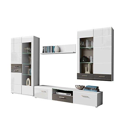 wohnzimmer schrankwand in wei hochglanz grau 320 cm breit. Black Bedroom Furniture Sets. Home Design Ideas