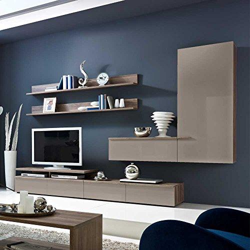 wohnzimmer wohnwand in grau hochglanz 300 cm breit 6. Black Bedroom Furniture Sets. Home Design Ideas