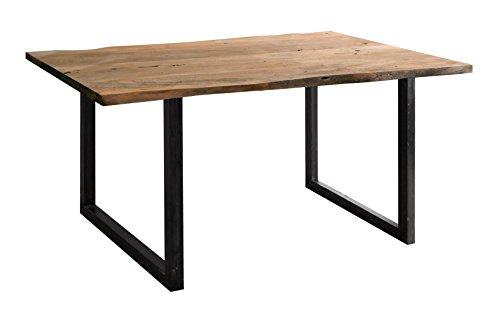 Wolf Möbel® Stilvoller Baumkanten-Tisch Live edge aus Akazien-Holz, Esstisch mit naturbelassener Optik mit einer Baumkanten-Oberfläche, Gestell mit schwarzen Metallbeinen, natur, 160 x 90 cm