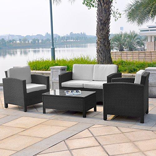 XINRO-13tlg-Deluxe-Lounge-Set-Gruppe-Garnitur-Gartenmbel-Lounge-Mbel-Rattan-Polyrattan-Sitzgruppe-inkl-Lounge-Sofa-Sessel-Tisch-Glasplatte-mit-Kissen-InOutdoor-handgeflochten-schwarz-0