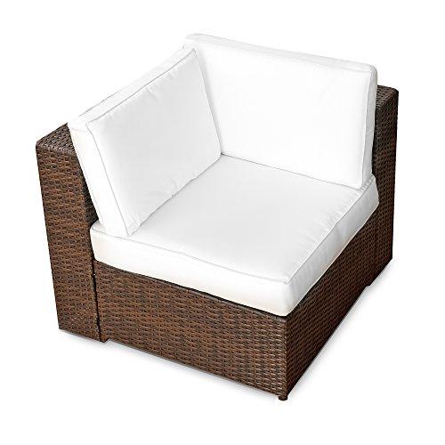 XINRO-1er-Polyrattan-Lounge-Eck-Sessel-Gartenmbel-Ecksessel-Rattan-durch-andere-Polyrattan-Lounge-Gartenmbel-Elemente-erweiterbar-InOutdoor-handgeflochten-braun-0
