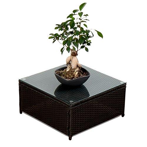 XINRO-1er-Polyrattan-Lounge-Tisch-Gartenmbel-Hocker-Rattan-durch-andere-Polyrattan-Lounge-Gartenmbel-Elemente-erweiterbar-InOutdoor-handgeflochten-schwarz-0