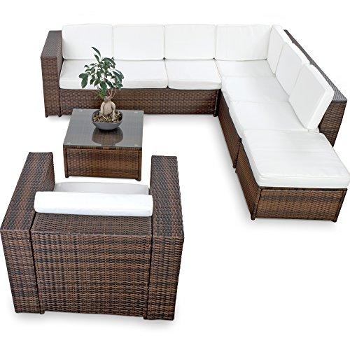 XINRO-XXL-22tlg-Gartenmbel-Lounge-Set-gnstig-1x-1er-Lounge-Sessel-Lounge-Mbel-Polyrattan-Sitzgruppe-Garnitur-InOutdoor-mit-Kissen-handgeflochten-braun-0