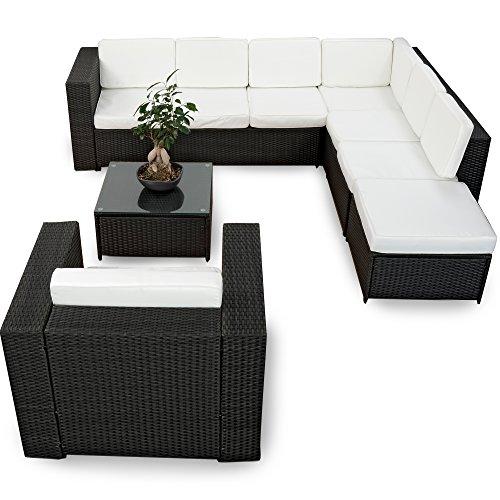 XINRO-XXL-22tlg-Polyrattan-Lounge-Mbel-Set-Gartenmbel-gnstig-1x-1er-Lounge-Sessel-Lounge-Set-Polyrattan-Sitzgruppe-Garnitur-InOutdoor-mit-Kissen-handgeflochten-schwarz-0
