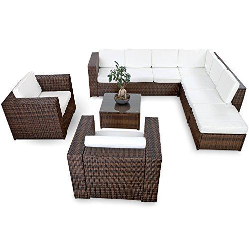 XINRO-XXXL-Polyrattan-25tlg-Lounge-Set-gnstig-2x-1er-Lounge-Sessel-Gartenmbel-Lounge-Mbel-Sitzgruppe-Garnitur-InOutdoor-mit-Kissen-handgeflochten-braun-0