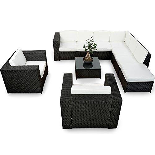 XINRO-XXXL-Polyrattan-25tlg-Lounge-Set-gnstig-2x-1er-Lounge-Sessel-Gartenmbel-Lounge-Mbel-Sitzgruppe-Garnitur-InOutdoor-mit-Kissen-handgeflochten-schwarz-0
