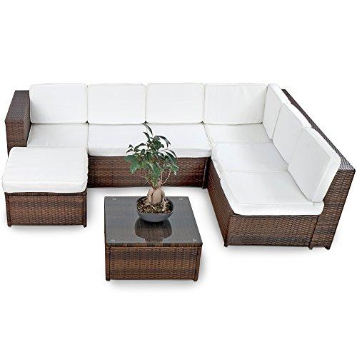XINRO-XXXL-Polyrattan-Lounge-Set-Lounge-Mbel-Lounge-Sofa-Garnitur-fr-6-Personen-mit-Tisch-Fusskocker-Kissen-Rattan-Garnitur-Sitzgruppe-InOutdoor-handgeflochten-braun-0