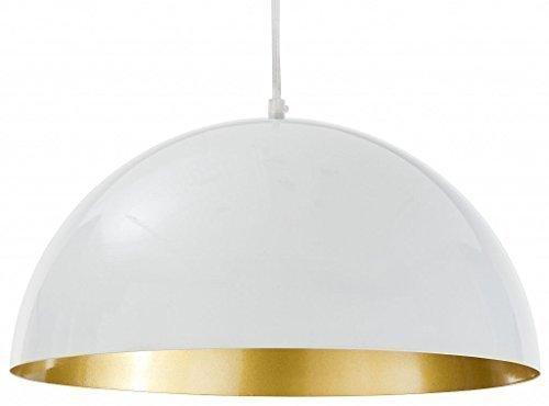 XL Industrie Pendelleuchte weiß-gold 40cm Durchmesser, E27 Loftleuchten Hängelampe Esszimmer Küche Vintage Leuchten