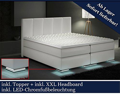 XXL Boxspringbett Designer Boxspring Bett LED (Weiß, 180x200)